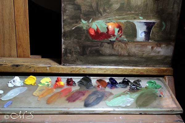 Oil painting palette by Margret Short
