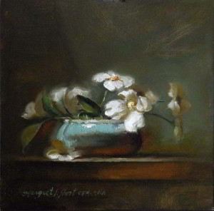Azure and Dogwood 6x6 inches, Oil on Panel © Margret E. Short, OPA, AWAM