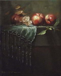 Bead Counting 10x8 inches, Oil on Linen © Margret E. Short, OPA, AWAM