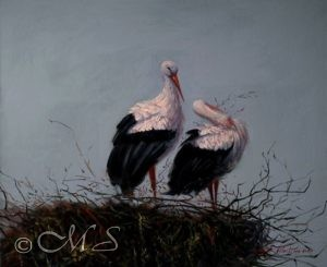 Courting 25x30 inches, Oil on Linen © Margret E. Short, OPA, AWAM