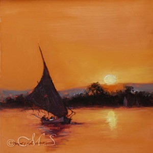 Felucca Modello 6x6 Oil on Copper
