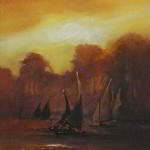 Felucca Study No. 6 7x5 inches Oil on Gold Leaf © Margret E. Short,  OPA, AWAM