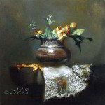 Flowers for Pearl's Hair 8x8 inches Oil on Linen Panel © Margret E. Short,  OPA, AWAM