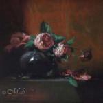 Flowers for Lena's Hair 8x8 inches, Oil on Panel © Margret E. Short, OPA, AWAM