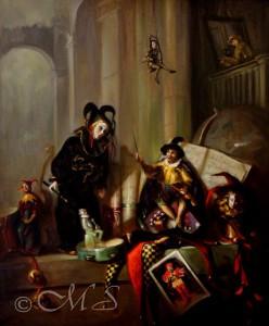 Fool's Scherzo  30x30  Oil on Linen Copyright Margret E. Short 2001