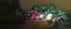 Lavish Radish 5x12 inches, Oil on Linen © Margret E. Short, OPA, AWAM