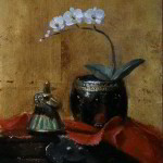 Orchids for the Temple 7x5 inches Oil on Panel © Margret E. Short,  OPA, AWAM