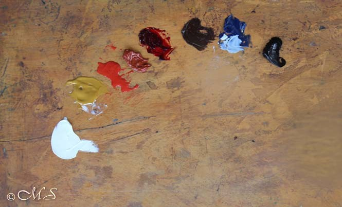 Oil painting pigments used by Margret Short