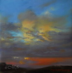 Big Sky Country 12x12 inches, Oil on Linen © Margret E. Short, OPA, AWAM