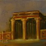 Evening at Kom Ombo 7x5 inches Oil on Panel © Margret E. Short,  OPA, AWAM