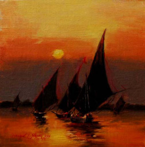 Felucca Modello #12 6x6 inches, Oil on Panel © Margret E. Short, OPA, AWAM