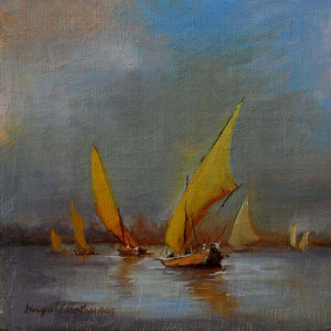 Felucca Modello #11 6x6 inches, Oil on Panel © Margret E. Short, OPA, AWAM