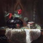 Kokopelli's Gifts 13x15 inches, Oil on Linen,  © Margret E. Short, OPA, AWAM