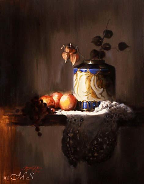 Nectarines and Lace30x24 Copyright Margret E. Short