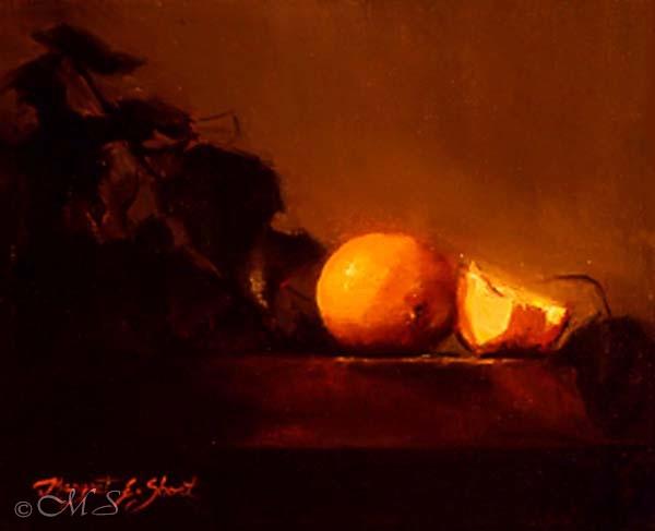 Oranges and Grape Leaves 8x10 Copyright Margret E. Short