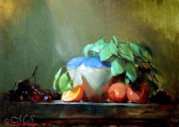 Vase and Tangerines - a still life oil painting by Margret Short
