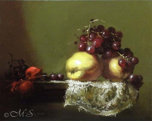 Quince and Lace - a still life oil painting by Margret Short