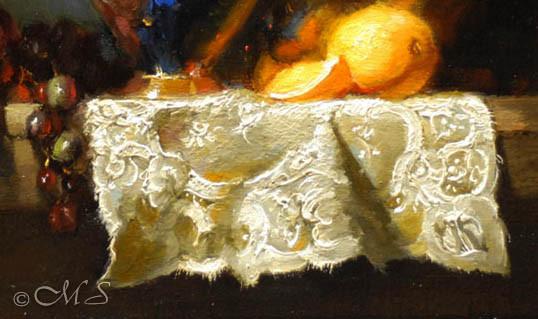 repoussoir technique in still life oil painting