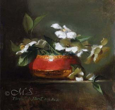 Vermillion and Dogwood 6x6 inches, Oil on Panel